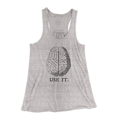Use Your Brain Women's Flowey Racerback Tank Top-Athletic Heather - Famous IRL