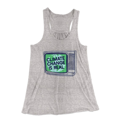 PSA: Climate Change is Real Women's Flowey Racerback Tank Top-Athletic Heather - Famous IRL