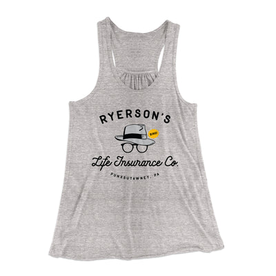 Ryerson's Life Insurance Women's Flowey Racerback Tank Top-Athletic Heather - Famous IRL