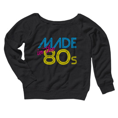 Made In The 80s Women's Scoopneck Sweatshirt-Women's Off The Shoulder Sweatshirt-White Label DTG-Black-S-Famous IRL
