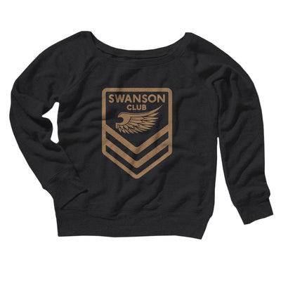 Swanson Club Women's Off The Shoulder Sweatshirt-Black - Famous IRL