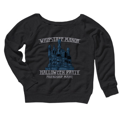 Whipstaff Manor Halloween Party Women's Scoopneck Sweatshirt-Sweatshirt-Printify-Black-L-Famous IRL