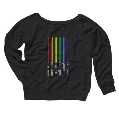 Lightsaber Color Rainbow Women's Off The Shoulder Sweatshirt-Black - Famous IRL