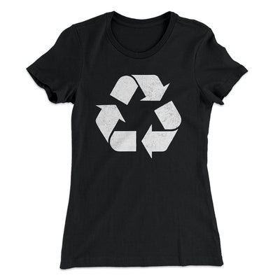 Recycle Symbol Women's T-Shirt-Solid Black - Famous IRL