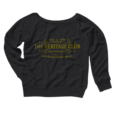 The Heritage Club Women's Off The Shoulder Sweatshirt-Black - Famous IRL