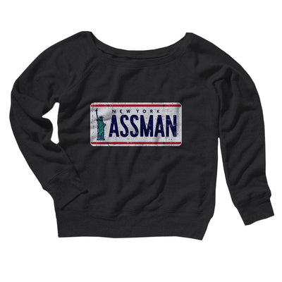Assman Women's Off The Shoulder Sweatshirt-Black - Famous IRL