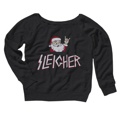 Sleigher Women's Off The Shoulder Sweatshirt-Black - Famous IRL