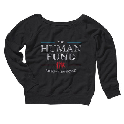 The Human Fund Women's Off The Shoulder Sweatshirt-Black - Famous IRL