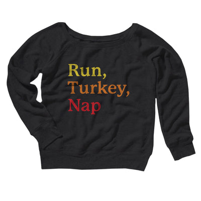 Run, Turkey, Nap Women's Scoopneck Sweatshirt