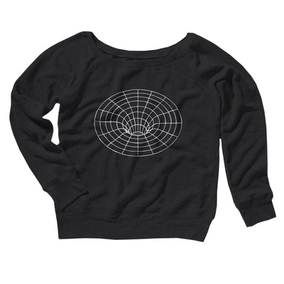 Black Hole Women's Off The Shoulder Sweatshirt-Black - Famous IRL