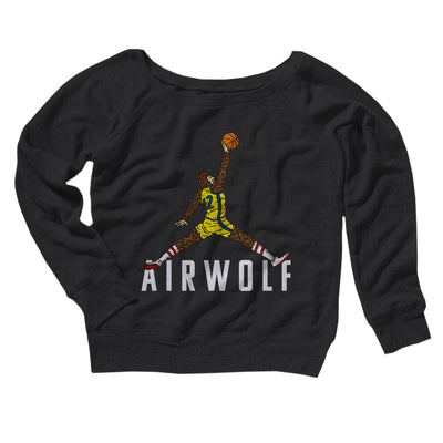 Air Wolf Women's Off The Shoulder Sweatshirt-Black - Famous IRL