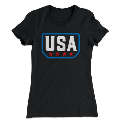 USA Badge Logo Women's T-Shirt-Solid Black - Famous IRL