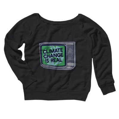 PSA: Climate Change is Real Women's Off The Shoulder Sweatshirt-Black - Famous IRL