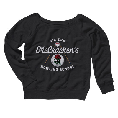 Big Ern McCracken's Bowling School Women's Off The Shoulder Sweatshirt-Black - Famous IRL