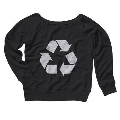 Recycle Symbol Women's Off The Shoulder Sweatshirt-Black - Famous IRL