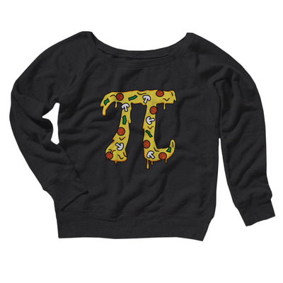 Pizza Pi Women's Off The Shoulder Sweatshirt-Black - Famous IRL