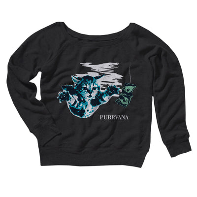 Purrvana Women's Off The Shoulder Sweatshirt-Black - Famous IRL