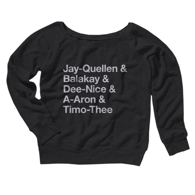 Substitute Teacher Names Women's Off The Shoulder Sweatshirt-Black - Famous IRL