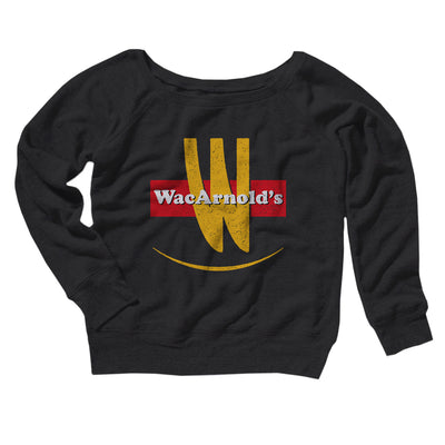 WacArnold's Women's Scoopneck Sweatshirt-Women's Off The Shoulder Sweatshirt-White Label DTG-Black-S-Famous IRL