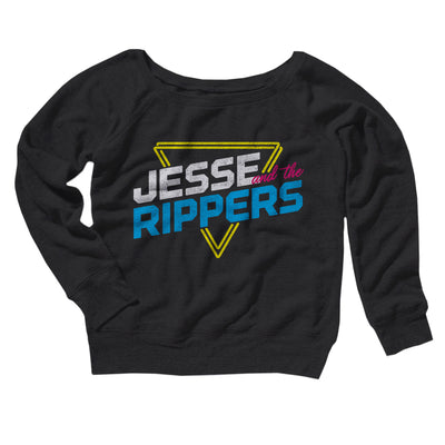 Jesse and the Rippers Women's Off The Shoulder Sweatshirt-Black - Famous IRL