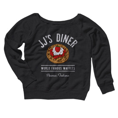 JJ's Diner Women's Off The Shoulder Sweatshirt-Black - Famous IRL