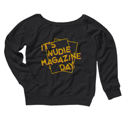 Nudie Magazine Day Women's Scoopneck Sweatshirt-Women's Off The Shoulder Sweatshirt-White Label DTG-Black-S-Famous IRL