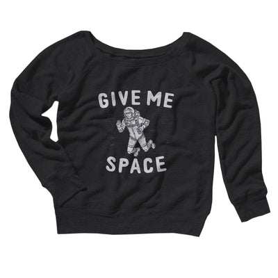 Give Me Space Women's Off The Shoulder Sweatshirt-Black - Famous IRL