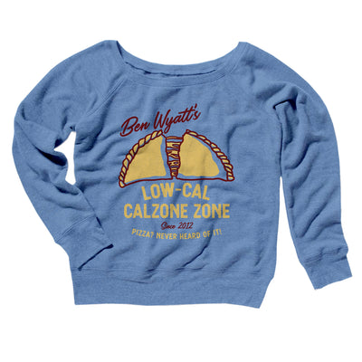 Ben Wyatt's Low Cal Calzone Zone Women's Off The Shoulder Sweatshirt-Blue TriBlend - Famous IRL