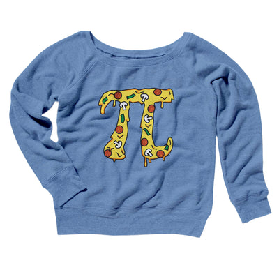 Pizza Pi Women's Off The Shoulder Sweatshirt-Blue TriBlend - Famous IRL