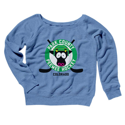 Park County Peewee Hockey Women's Off The Shoulder Sweatshirt-Blue TriBlend - Famous IRL