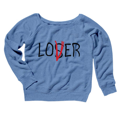 Loser Lover Women's Off The Shoulder Sweatshirt-Blue TriBlend - Famous IRL