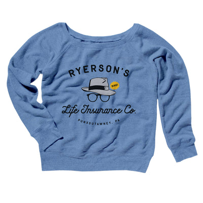Ryerson's Women's Off The Shoulder Sweatshirt-Blue TriBlend - Famous IRL