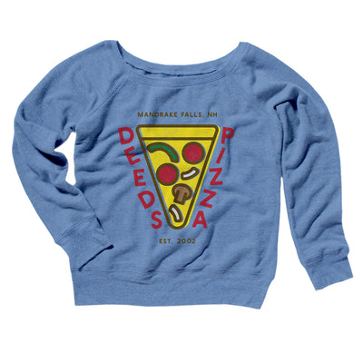 Deeds Pizza Women's Off The Shoulder Sweatshirt-Blue TriBlend - Famous IRL