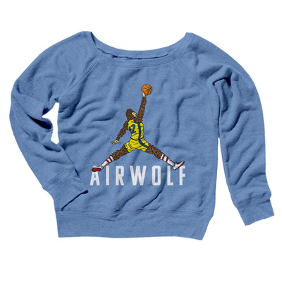 Air Wolf Women's Off The Shoulder Sweatshirt-Blue TriBlend - Famous IRL