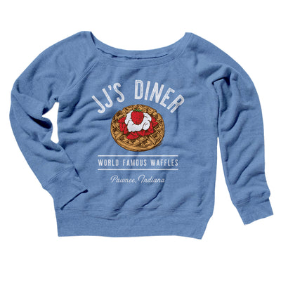 JJ's Diner Women's Off The Shoulder Sweatshirt-Blue TriBlend - Famous IRL