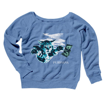 Purrvana Women's Off The Shoulder Sweatshirt-Blue TriBlend - Famous IRL