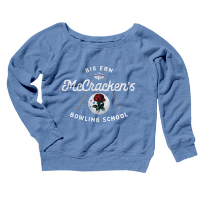 Big Ern McCracken's Bowling School Women's Off The Shoulder Sweatshirt-Blue TriBlend - Famous IRL