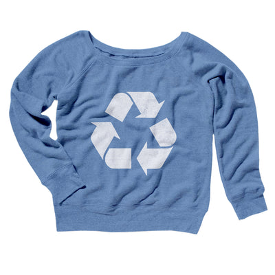 Recycle Symbol Women's Off The Shoulder Sweatshirt-Blue TriBlend - Famous IRL