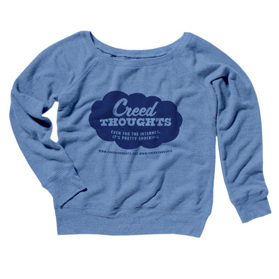 Creed Thoughts Women's Off The Shoulder Sweatshirt-Blue TriBlend - Famous IRL