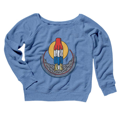 Rocket Pop Launch Women's Off The Shoulder Sweatshirt-Blue TriBlend - Famous IRL