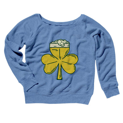 Beer Shamrock Women's Off The Shoulder Sweatshirt-Blue TriBlend - Famous IRL