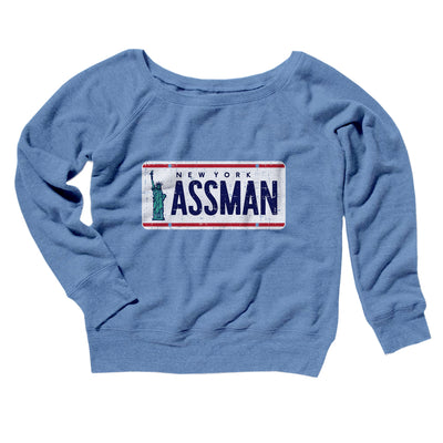Assman Women's Off The Shoulder Sweatshirt-Blue TriBlend - Famous IRL