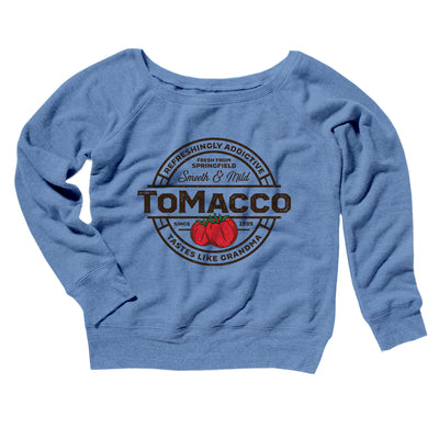 Tomacco Women's Scoopneck Sweatshirt-Women's Off The Shoulder Sweatshirt-White Label DTG-Blue TriBlend-S-Famous IRL