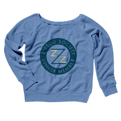 Zissou Society Member Women's Off The Shoulder Sweatshirt-Blue TriBlend - Famous IRL
