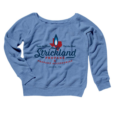 Strickland Propane Women's Off The Shoulder Sweatshirt-Blue TriBlend - Famous IRL