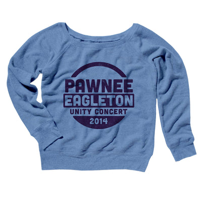Pawnee Eagleton Unity Concert Women's Off The Shoulder Sweatshirt-Blue TriBlend - Famous IRL
