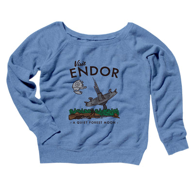 Visit Endor Women's Off The Shoulder Sweatshirt-Blue TriBlend - Famous IRL