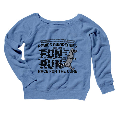Rabies Awareness Fun Run Women's Off The Shoulder Sweatshirt-Blue TriBlend - Famous IRL
