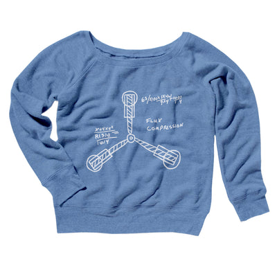 Flux Capacitor Women's Off The Shoulder Sweatshirt-Blue TriBlend - Famous IRL
