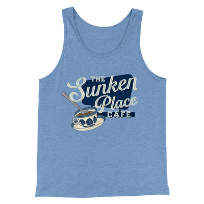 The Sunken Place Cafe Men/Unisex Tank-Tank Top-Printify-Blue TriBlend-S-Famous IRL